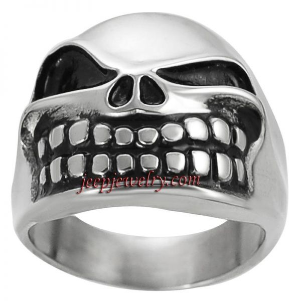 Daxx Stainless Steel Men's Jack Pumpkin King Skull Ring