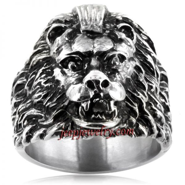 Jewelry Stainless Steel Ferocious Lion Cast Ring