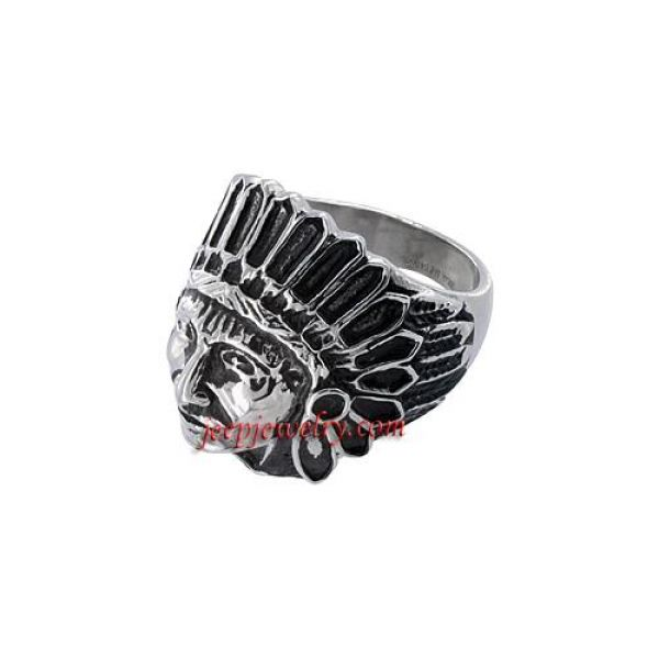 Stainless Steel Men's Apache Indian Shield Ring