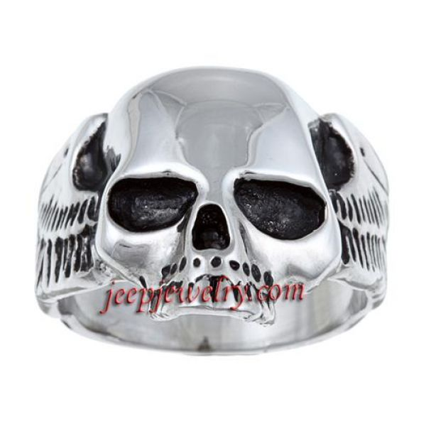 Stainless Steel Polished Skull Ring