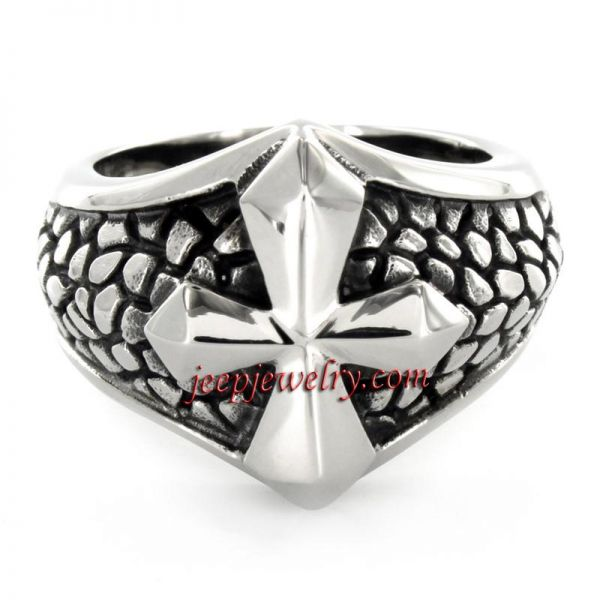 Stainless Steel Medieval Cross Ring