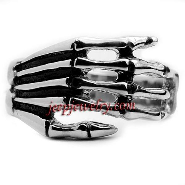 Stainless Steel Men\'s Skeleton Hand Ring