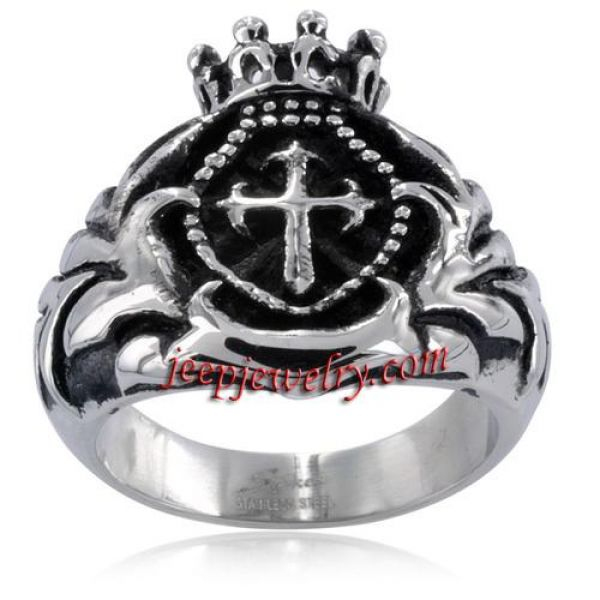 Stainless Steel Men's Crowned Royal Cross Ring