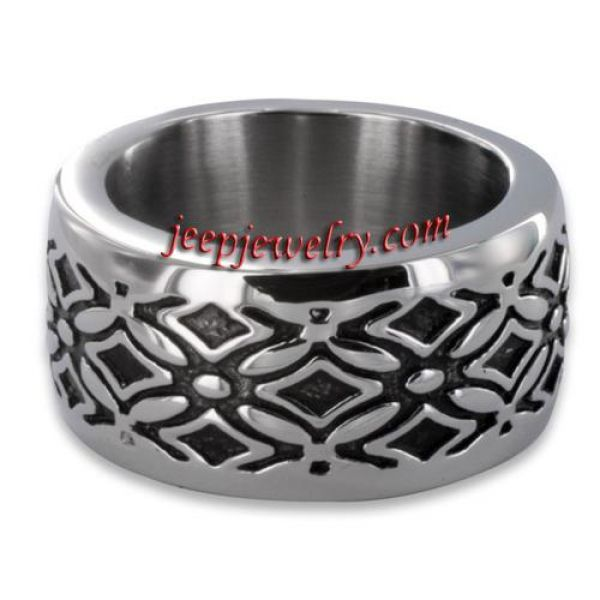 Stainless Steel Men's Wide Decorative Cross Ring