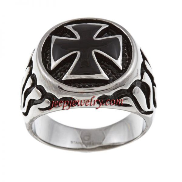 Stainless Steel Men's Cross and Flame Ring