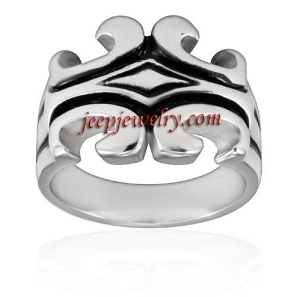 Stainless Steel Polished Black Inlay Design Ring
