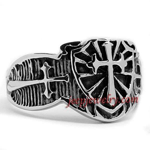 Stainless Steel Cast Shield Cross Ring