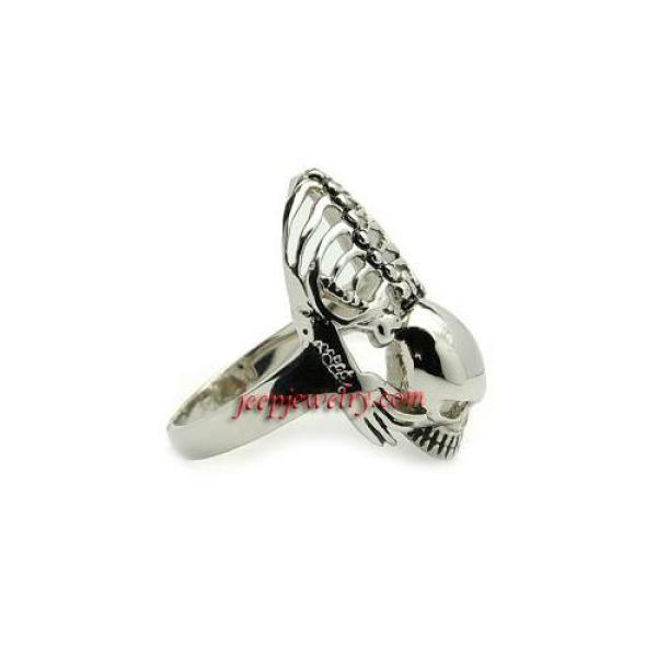 Stainless Steel Men's Skull and Skeleton Biker Ring