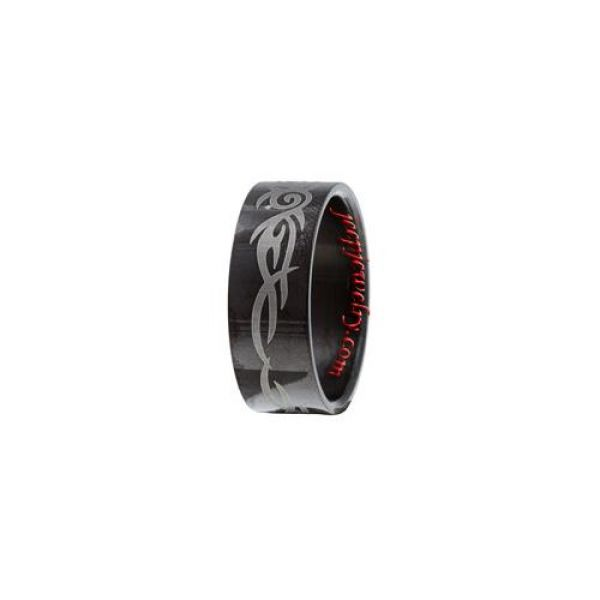 Blackplated Stainless Steel Tribal Design Ring