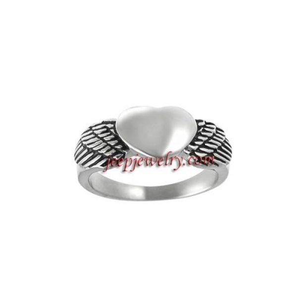 Daxx Stainless Steel Men's Winged Heart Ring