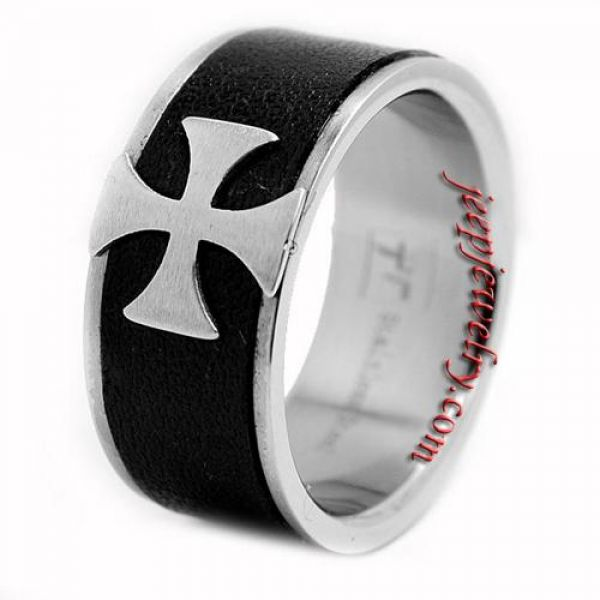 Stainless Steel Black Leather Inlay Cross Ring