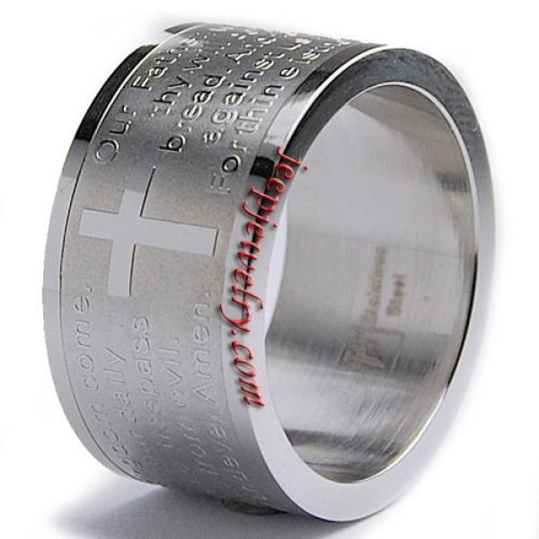 Stainless Steel Lord\'s Prayer Ring (12 mm)