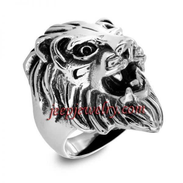 Stainless Steel Men's Lion's Head Ring