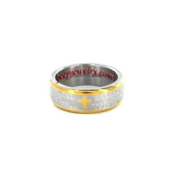 Two-tone Stainless Steel Lord's Prayer Ring
