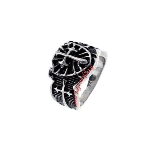 Stainless Steel Raised Cross Black Ring