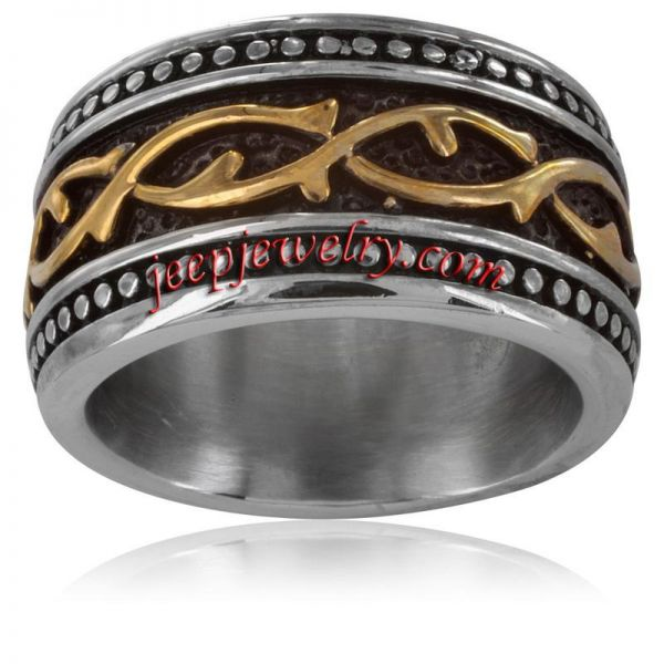 Stainless Steel and Goldplated Men's Vine Link Ring