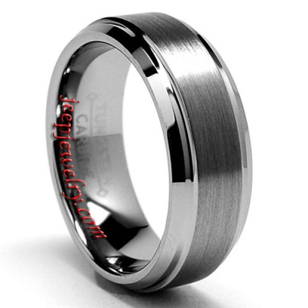 Men's Tungsten Carbide Brushed And Polished Beveled Edge