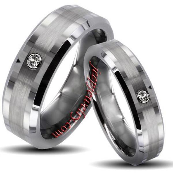 tungsten carbide brushed center cubic zirconia his and her