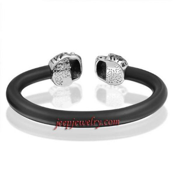 Bling Jewelry Mens Leather Adjustable Goth Skulls Cuff Bracelet Stainless Steel