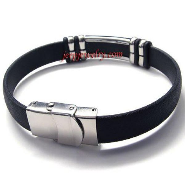Jewelry Stainless Steel Rubber Cross Bracelet - Black Silver - 8.8 Inch