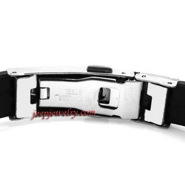 10mm Wide Stainless Steel and Rubber Cross Bracelet 8\