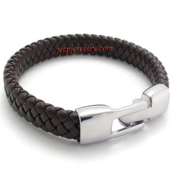 Jewelry Braided Brown Genuine Leather Men\'s Bracelet with Stainless Steel Clasp, Color Brown Si