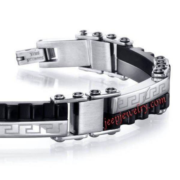 Greek Key Brushed Stainless Steel and Grooved Black Ceramic Mens Bracelet