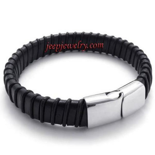 Jewelry Braided Black Genuine Leather Mens Bracelet with Stainless Steel Clasp, Color Black Silver,