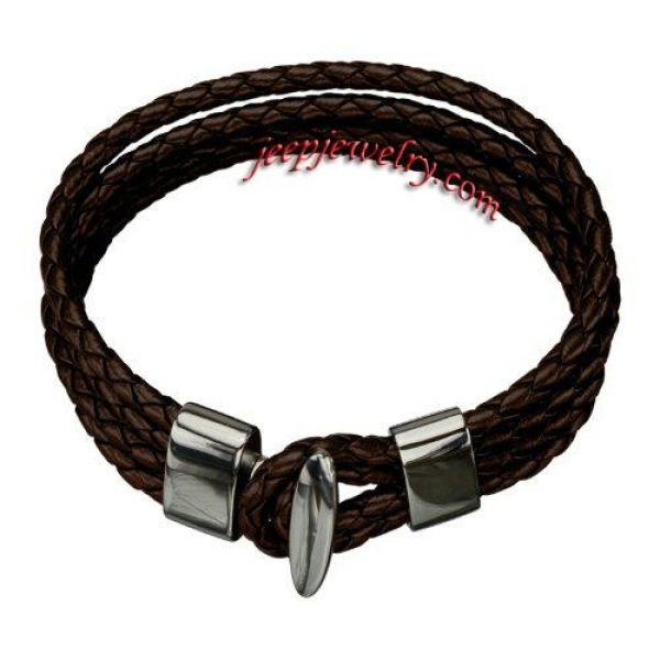 Jewelry Men's 6mm Braided Brown Leather Bracet