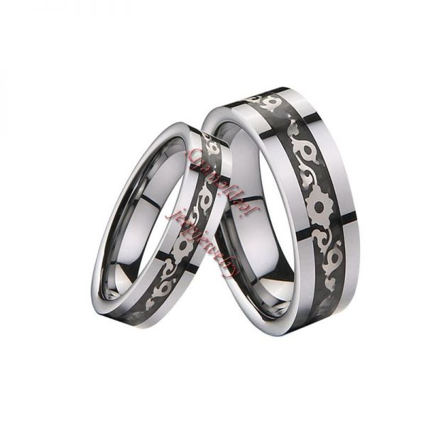 Mosaic carbon fiber tungsten steel lovers ring wholesale
