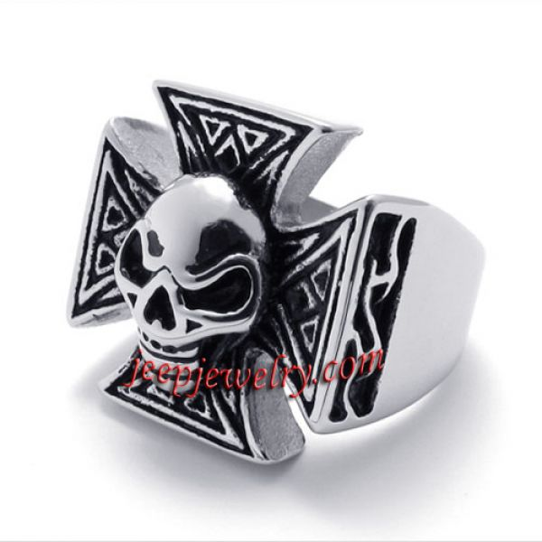 Skeleton head cross stainless steel ring