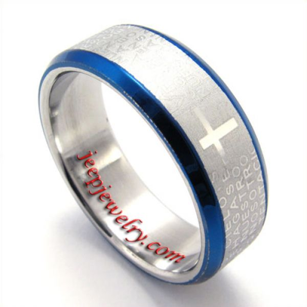 Blue side letter pattern stainless steel ring