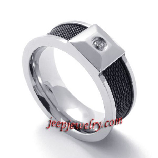 inlaid faux jewels texture stainless steel ring