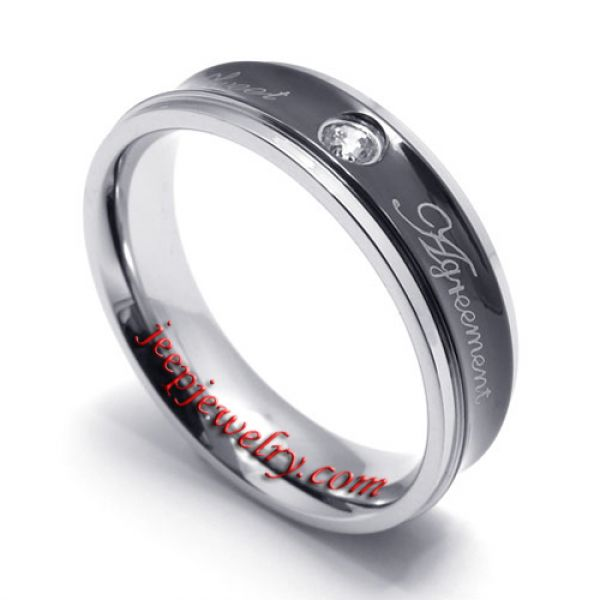 silvery edge inlaid faux jewels stainless steel ring