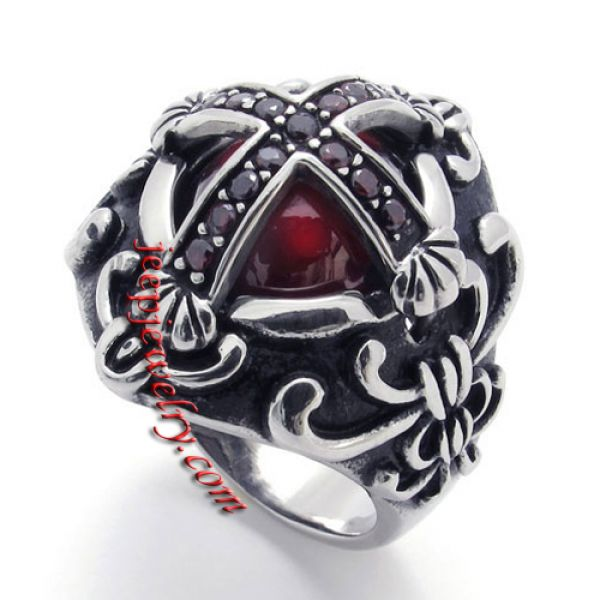 Antique Inlaid faux jewels stainless steel ring