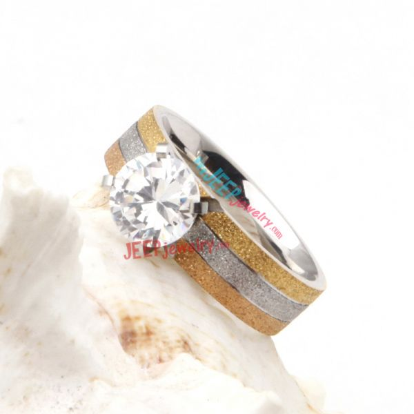 excellent designed diamond wedding stainless steel ring