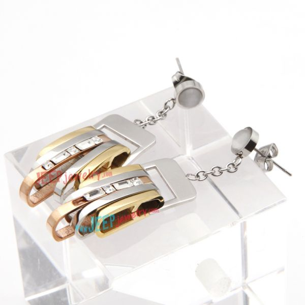 Cool Style of Silver & Golden Complicated Belt Stainless Steel Of Handcuff Earrings