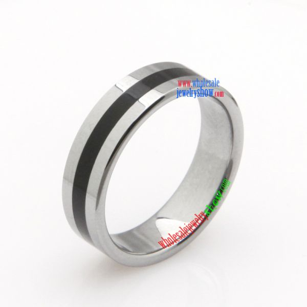 Stainless Steel Black Stripe Band Ring