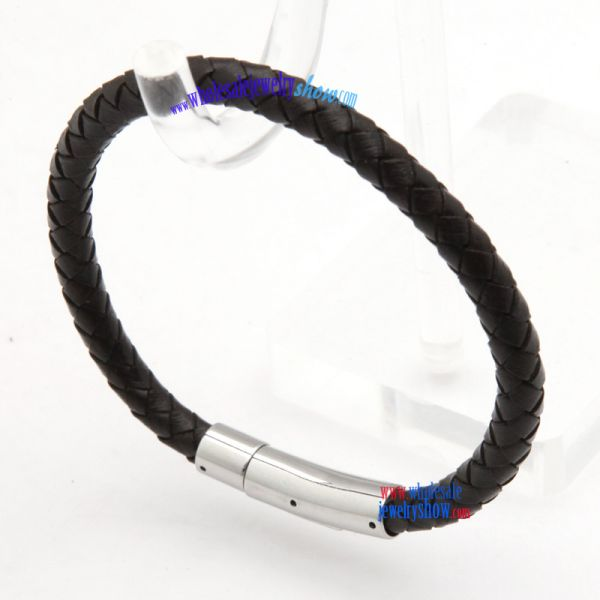 Black gorgeous braided leather bracelets and bangles with 316 stainless steel clasp