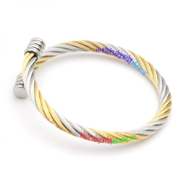 Stainless Steel 2-tone Twisted Cable Torc Cuff Bangle