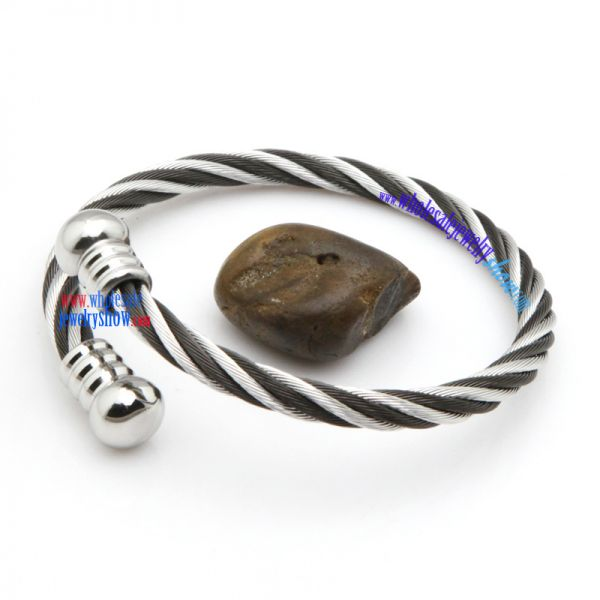 Black and white stainless steel wire screw mens bangles