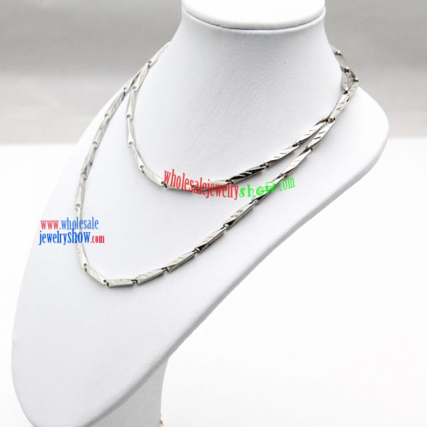 Simple Silver Engraved Rectangle Label Stainless Steel Necklace Fashion Jewelry Wholesale Supplies