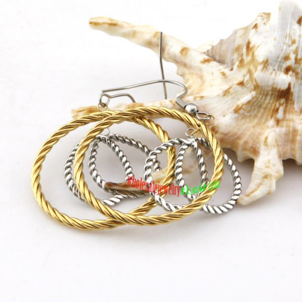 Particular Design of Golden & Silver Rope Shape Stainless Steel Thread Earrings For Girls