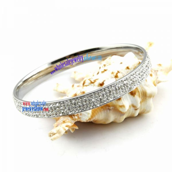 Fashion Trend of Twinkling Silver & White Spots Design of Stainless Steel Children Bangles