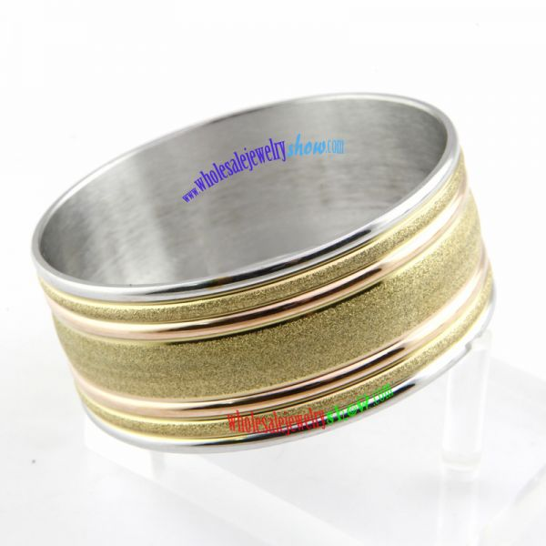 Stylish Big Size of Dazzle Silver Stripe Stainless Steel of Gold Bangles Designs