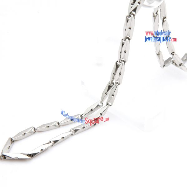 Fashion Jewelry Special Design Silver Irregular Cuboid Stainless Steel Mariner Link Necklace