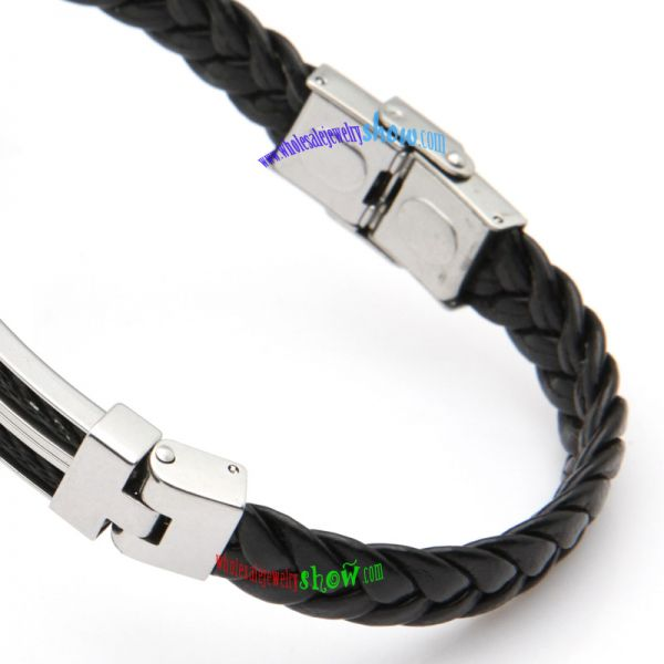 Fashionable Style of Silver Buckles & Black Braid Design of Stainless Steel Hawaiian Bangles