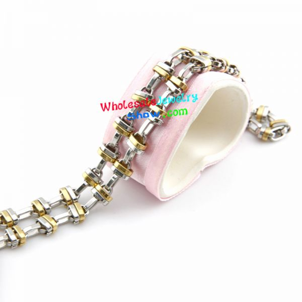 Fashion Cool Style Gold & Silver Chain Design of Men Stainless Steel Bracelet