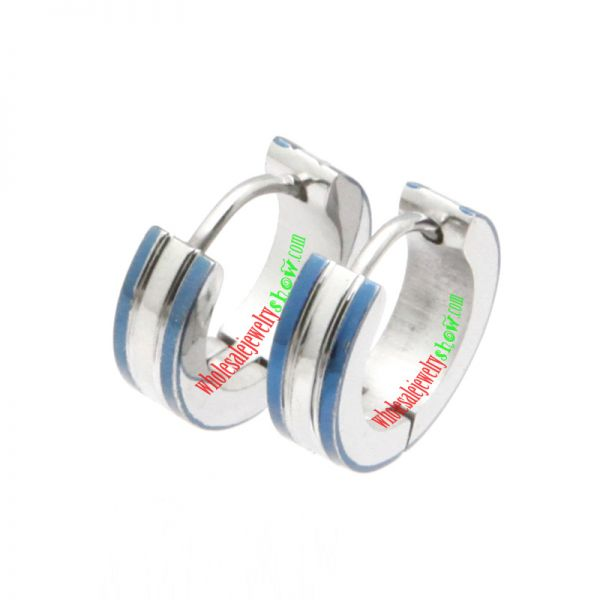 316L Surgical Stainless Steel 2 Tone Hoop Earring with Blue IP Edges