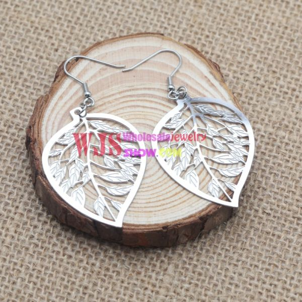 Stainless Steel Cutout Leaf Earrings